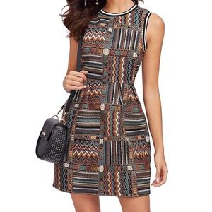 Tribal Embroidery Sheath Dress Size L